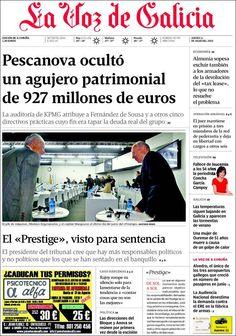 Los Titulares y Portadas de Noticias Destacadas Españolas del 11 de Julio de 2013 del Diario La Voz de Galicia ¿Que le parecio esta Portada de este Diario Español?