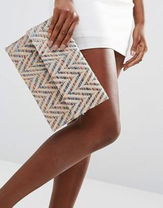 Image 3 of Glamorous Chevron Detail Foldover Clutch Bag