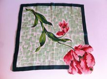 Hanky Hankie Glamour Girl Vintage 1950's NOS Pure Linen Hand Rolled Rose