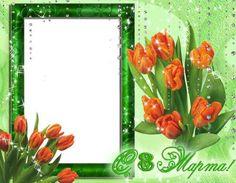 Цветочная рамка для фото – Оранжевые тюльпаны к 8   Марта