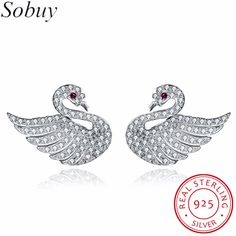 SOBUY 925 Sterling Silver With Lover Swans and Ruby eyes Clear CZ Cubic Zircon Stud Earrings for Women Fine Jewelry Bijoux
