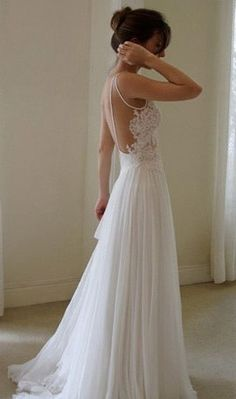 Sexy Backless White Lace Long Chiffon Prom Dress Beach Wedding Dress on Etsy, $189.00