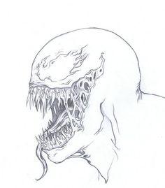 Venom head sketch by on DeviantArt Drawing Cartoon Characters, Comic Drawing, Character Drawing, Cartoon Drawings, Cool Art Drawings, Pencil Art Drawings, Drawing Sketches, Spiderman Drawing, Avengers Drawings