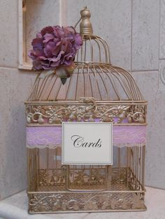 Gold Birdcage Wedding Card Holder / Card Box / by TheLaceMoon, $68.00