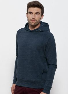 Toasty Boy men's #hoodie in Dark Heather Denim. #Fairtrade and made from a blend of 85% #organiccotton and 15% polyester brushed fleece. Made in Pakistan.