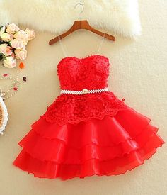Lace Homecoming Dress,Red Homecoming Dresses,Cheap Homecoming Gowns,Cocktail Dress,Short Prom Dress,Sweet 16 Dresses,Tulle Homecoming Gown For Teens