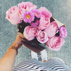 by emi sue May Flowers, Fresh Flowers, Beautiful Flowers, Plants Are Friends, Bloom Where You Are Planted, Bouquet, Pink Roses, Planting Flowers, Flower Arrangements