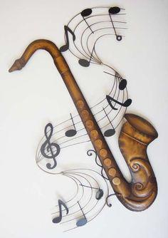 Metal Wall Art - Saxophone Music Score