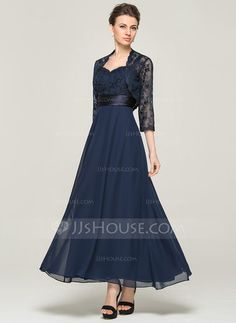 A-Line/Princess Sweetheart Ankle-Length Chiffon Lace Mother of the Bride Dress (008062564) - JJsHouse