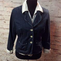 CATO DARK DENIM BLAZER/JACKET Cute denim dressy blazer made of 96% cotton 4% spandex. Gently used.   HIC-1 Cato Jackets & Coats Blazers