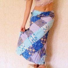 Blue Patchwork Skirt - Upcycled Reconstructed Boho Hippie Clothing - Size Medium