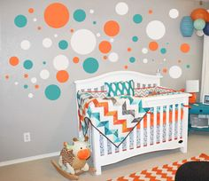 IN Dark Gray, Orange, and Turquoise-- $20  Dots Wall Decals-Nursery Wall Art  Childrens Wall by NatureWall