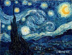 별이 빛나는 밤 : 빈센트 반 고흐 / 해설 : 빈센트 반 고흐의 대표작 중 하나이다. 비연속적이고 동적인 터치로 그려진 하늘은 굽이치는 두꺼운 붓놀림으로 불꽃같은 사이프러스와 연결되고, 그 아래의 마을은 대조적으로 평온하고 고요하다. / 감상 : 반 고흐에게 밤하늘은 무한함을 표현하는 대상이라고 하는데, 이 작품은 나에게 무한함보다는 단편적인 유한함을 느끼게 한다. 묘한 매력이 있다.
