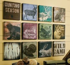 When it's time to warm up a room with a bit of color and character, create a serene, cozy spot with this hand-finished 12-Piece Wild Game Canvas Art Camo Rooms, Boy Rooms, Kids Rooms, Hunting Themes, Hunting Art, Deer Hunting, Rustic Wall Art, Man Room, Kids Bedroom