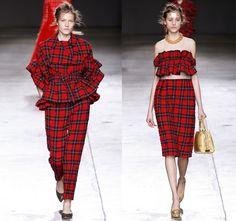 Make a bold statement in Simone Rocha's tartan look with a touch of feminine flourish.