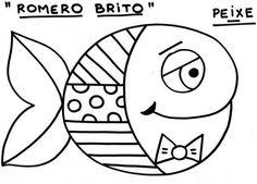 Romero Britto para colorir - Peixe
