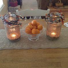 Burlap mason jar candles !
