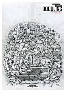 Technical doodling from Lubimov Aleksey  Автор Любимов Алексей. Рисунок капиллярной ручкой Биомеханика. Стимпанк. Дизельпанк. Киберпанк. Rollerpen. Steampunk. Dieselpunk. Cyberpunk. Biomechanical. T-Shirts print #doodling