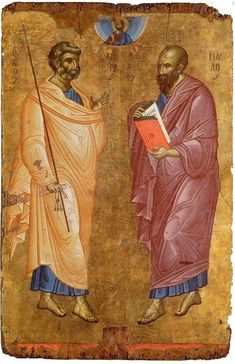 The Holy, Glorious and Illustrious Apostles Peter and Paul. Religious Images, Religious Icons, Religious Art, Byzantine Icons, Byzantine Art, St Peter And Paul, Medieval Books, Russian Icons, Art Icon