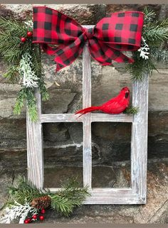 The red cardinal is the perfect touch!  Farmhouse Christmas Decor, Red Buffalo check decor, Christmas Decorated Window Pane, Winter Window Pane Decor, Christmas Window Frame, Rustic Wooden Window Pane #ad