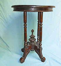 Antique Victorian Table Pedestal Fancy Stand  Round Turned Dark Patina Parlour
