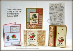 Close to My Heart card kit featuring the 'Reindeer Bells' stamp set for Christmas. Join my Virtual club and you can receive sets like this in the mail each month! www.facebook.com/dawn.montagano