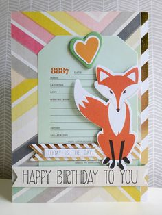 Summer into Autumn trends for 2014 - Foxy birthday greetings card using Teresa Collins Nine & Co. speciality gold foiled paper and die-cut elements plus Crate Paper Notes & Things journaling cards.