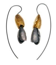 contemporary jewellery: earrings by Ramjuly (silver, gold)