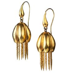 Victorian Gold Pumpkin Earrings | From a unique collection of vintage dangle earrings at http://www.1stdibs.com/jewelry/earrings/dangle-earrings/