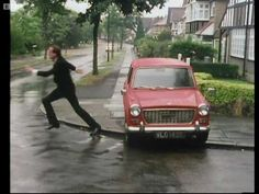 Basil Fawlty beats his car - Fawlty Towers. One of my favorite shows, and one of my favorite scenes. Who hasn't wanted to do this to there car. Really.