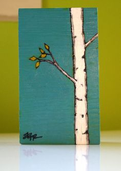 autumn birch original birch tree painting on by art25bya2n2, $16.00