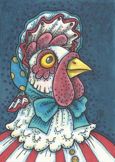 BORN IN THE USA HEN - This Red White And Blue Mother Hen Has a Patriotic Spirit.  Susan Brack Original Illustration Americana Folk Art Chicken EBSQ