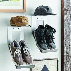 Shoe &Hat Metal Wall Organization, Brushed Nickel, Set of 2 - Decor - Shelves + Hooks Industrial Metal Shelving, Metal Shelves, Wall Shelves, Floating Shelves, Shelf Hooks, Wall Shelf Decor, Wall Hooks, Guy Dorm Rooms, Boy Rooms