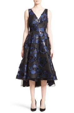 Main Image - Lela Rose High/Low Metallic Fil Coupé Dress