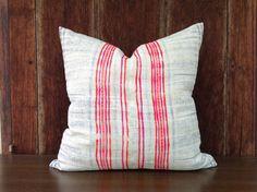 "Vintage Homespun Hemp Batik Hand Woven Pillow Case 18"" x 18""  Pieces Of Tribal Costume"