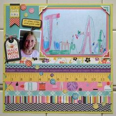 Children's art as a scrapbook layout