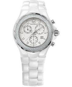 TechnoMarine Watch, Women's Swiss Chronograph Cruise Ceramic Diamond  White Ceramic Bracelet