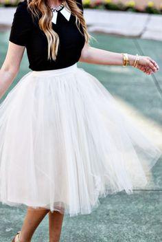 White tulle skirt. #fashion #style