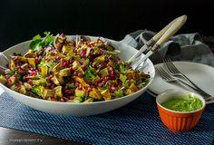 Kumara, broccoli and fresh garden green salad with kale pesto