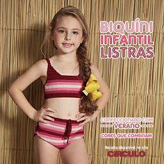 Um verão mais colorido e bonito com o Biquíni Infantil Listras de crochê. Confira a receita clicando na imagem.