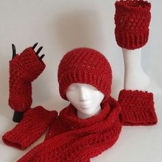 Nell's Cross Stitch Beanie, Fingerless Gloves, Scarf, and Boot Cuffs Set by NellsCrochet on Etsy