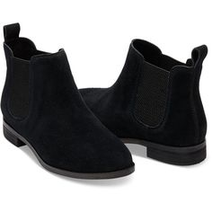 Now $120 - Shop this and similar TOMS ankle booties - This bootie is made for walking. And looking cute. Black suede upper. TOMS Chelsea boot. Twin elastic gore...