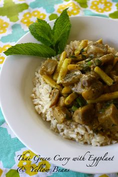Thai Green Curry with Eggplant (and other great looking vegan recipes)
