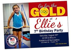 Gymnastics Birthday Party Invitation Olympics with Photo  by khudd, $12.00    hmmm...maybe with Amira's pic with Jordyn Weiber