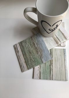 A personal favorite from my Etsy shop https://www.etsy.com/listing/536880236/blue-green-and-white-wood-coasters-wood