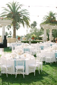 Regis Monarch Beach Resort Wedding from Caroline Tran Blue Wedding Receptions, Outdoor Wedding Reception, Wedding Table, Outdoor Weddings, Reception Table, Reception Ideas, Wedding Ceremony, Wedding Colors, Wedding Styles