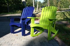 "Standard Adirondack rockers finished in ""Margarita"" & ""Bold Blue"""