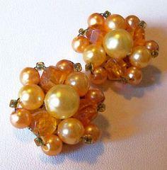 Vintage Cluster Earrings Peach Orange by BrightgemsTreasures, $8.50