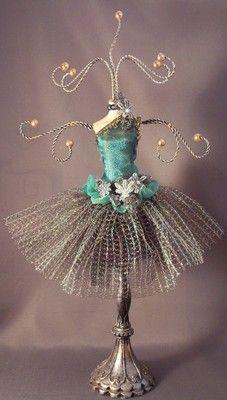 Jewelry Organizer Display Stand Holder Mannequin Ballerina Peacock Blue Green | eBay