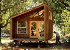 Tiny Wedge Cabins Coming to Spring Lake Regional Park Tiny Cabins, Tiny House Cabin, Cabins And Cottages, Tiny House Living, Tiny House Builders, Tiny House Design, Modern House Plans, Small House Plans, Portable Cabins